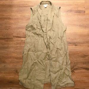 Long line linen vest